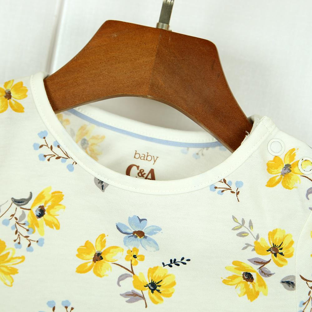 Imported All-Over Floral Printed T-Shirt For Girls With Snap Shoulder Button (21192)