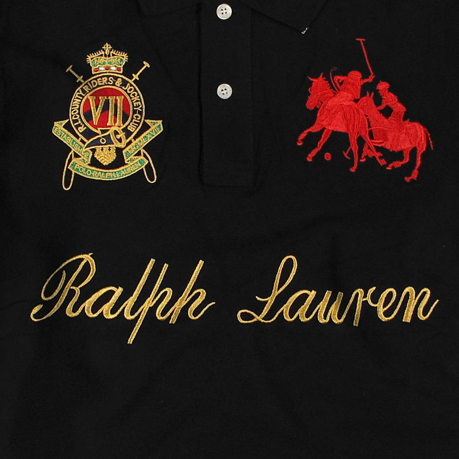 RALPH LAUREN-exclusive black country riders 'slim fit' embroidered polo