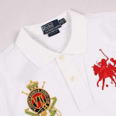 RALPH LAUREN-exclusive white jockey club 'slim fit' embroidered polo