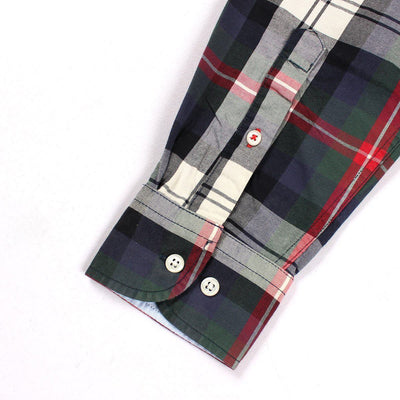 TOMMY HILFIGER-green moss button down check shirt
