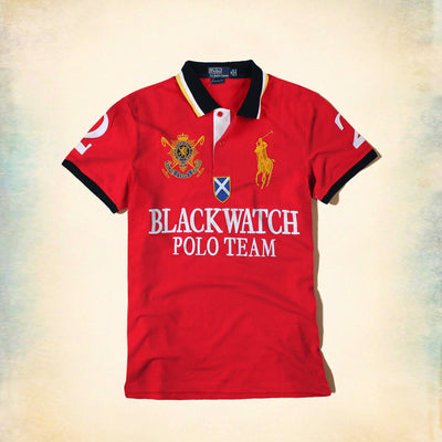 RALPH LAUREN-exclusive red big pony black watch 'slim fit' embroidered polo