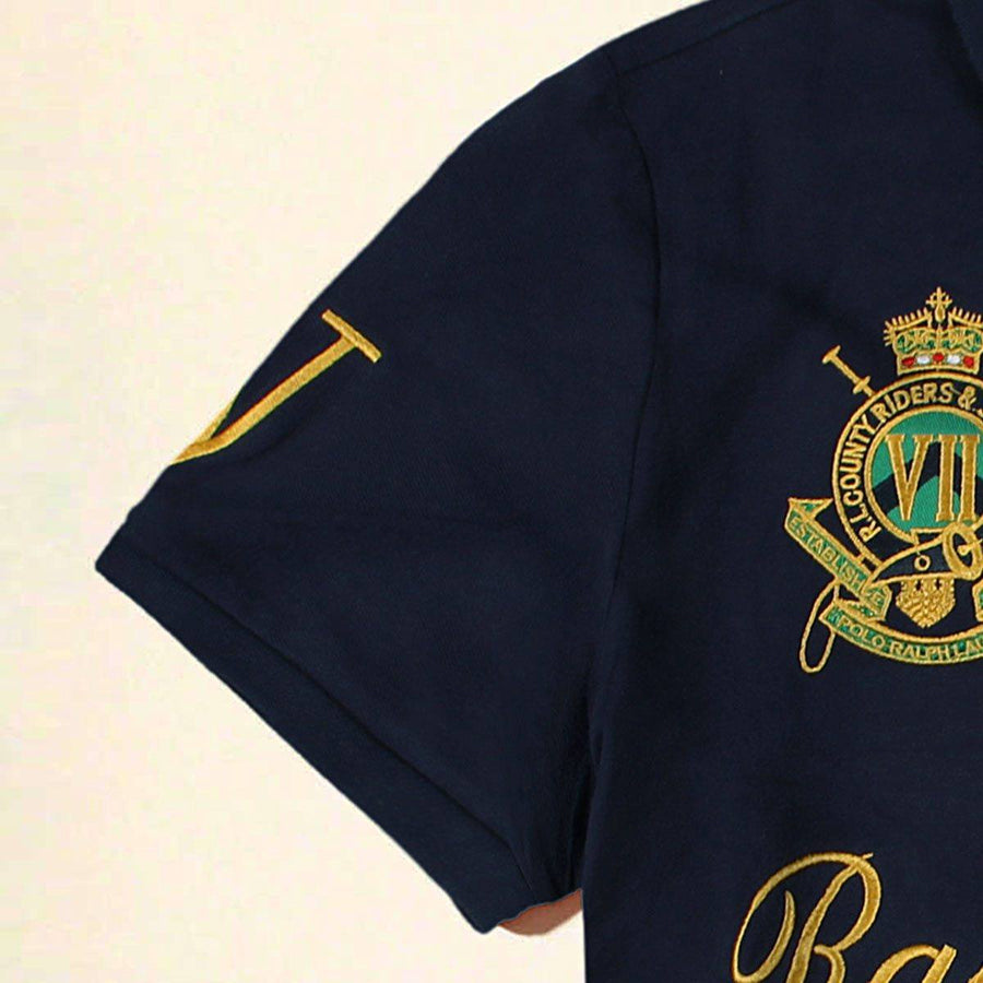 RALPH LAUREN-exclusive navy country riders 'slim fit' embroidered polo