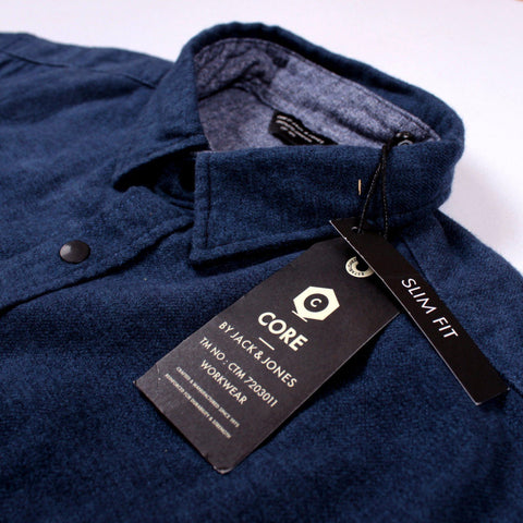 JACK & JONES-exclusive flannel 'slim fit' blue designer shirt
