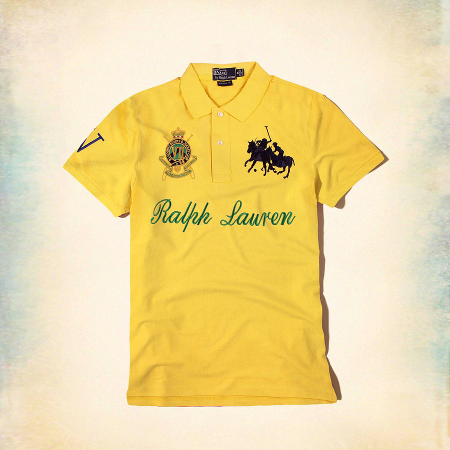 RALPH LAUREN-exclusive yellow country riders 'slim fit' embroidered polo