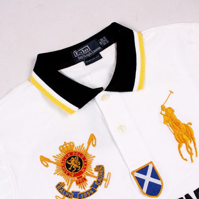RALPH LAUREN-exclusive white big pony black watch 'slim fit' embroidered polo