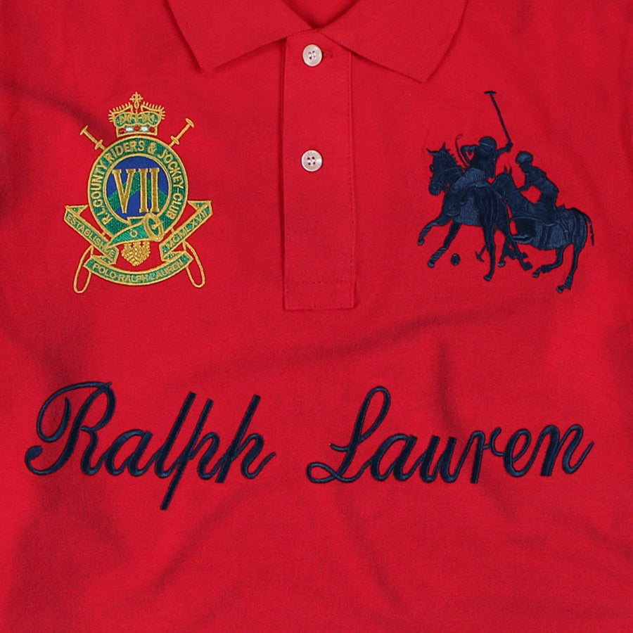 RALPH LAUREN-exclusive red country riders 'slim fit' embroidered polo