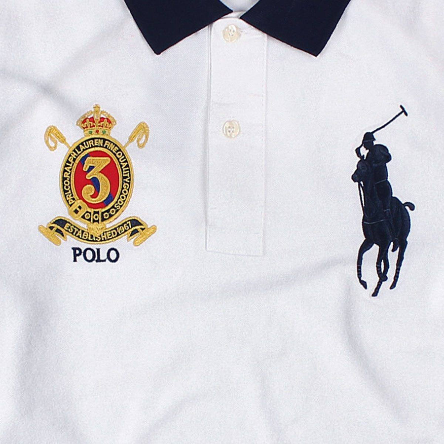 RALPH LAUREN-exclusive big pony white 'slim fit' embroidered polo