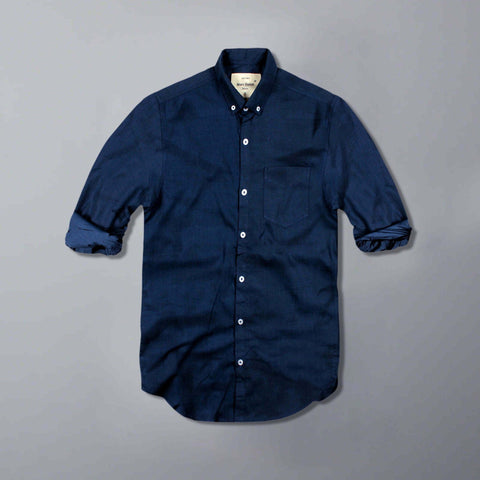 MARC FENDI-navy blue button down shirt