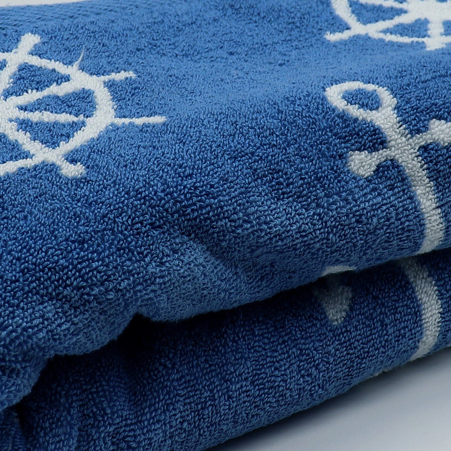 CASEY KEY-exclusive blue anchor jacquard bath towel (28 X 55 Inches)