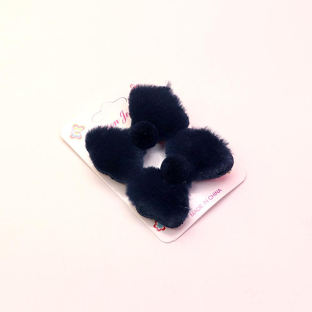 Girls pair of plush fur bow alligator hair clips