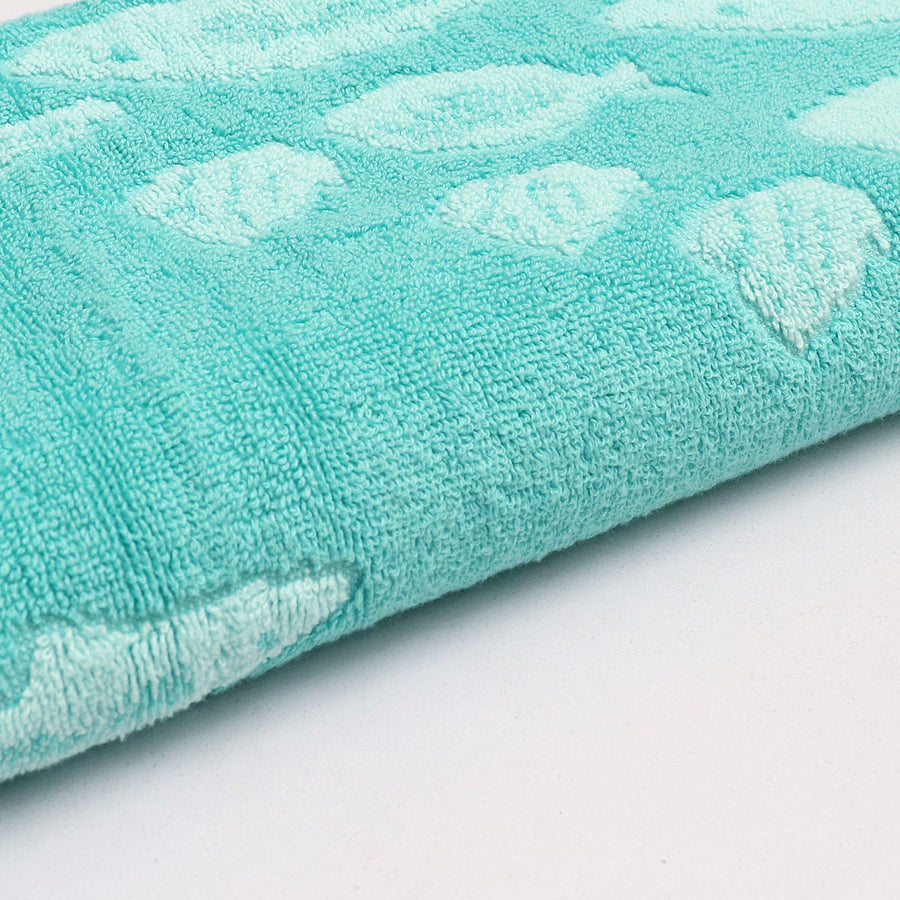 CASEY KEY-exclusive turquoise fish jacquard bath towel (28 X 55 Inches)