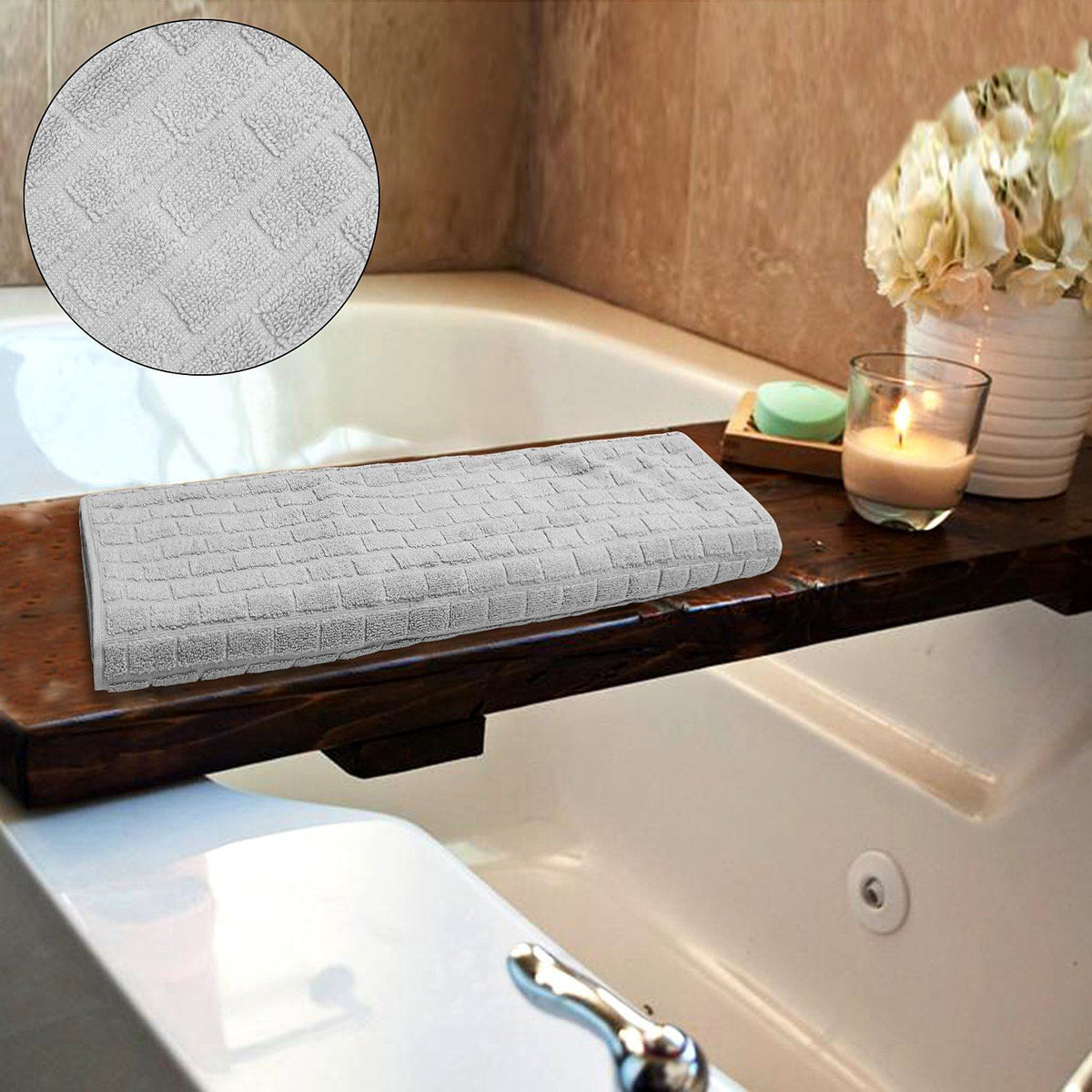 Exclusive grey block jacquard bath towel (27 X 52 Inches)