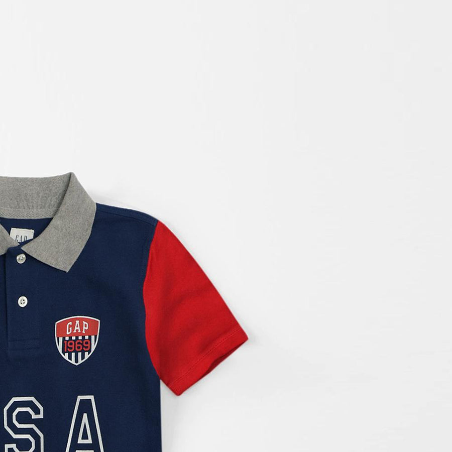 Exclusive boys navy country name polo (905)