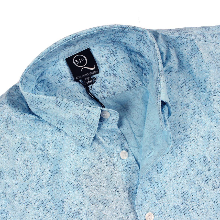 ALEXANDER MCQUEEN-sky blue all over printed 'button down' shirt