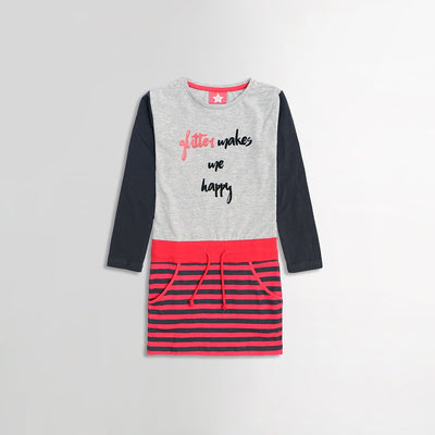 Girls happy printed jurk (919)