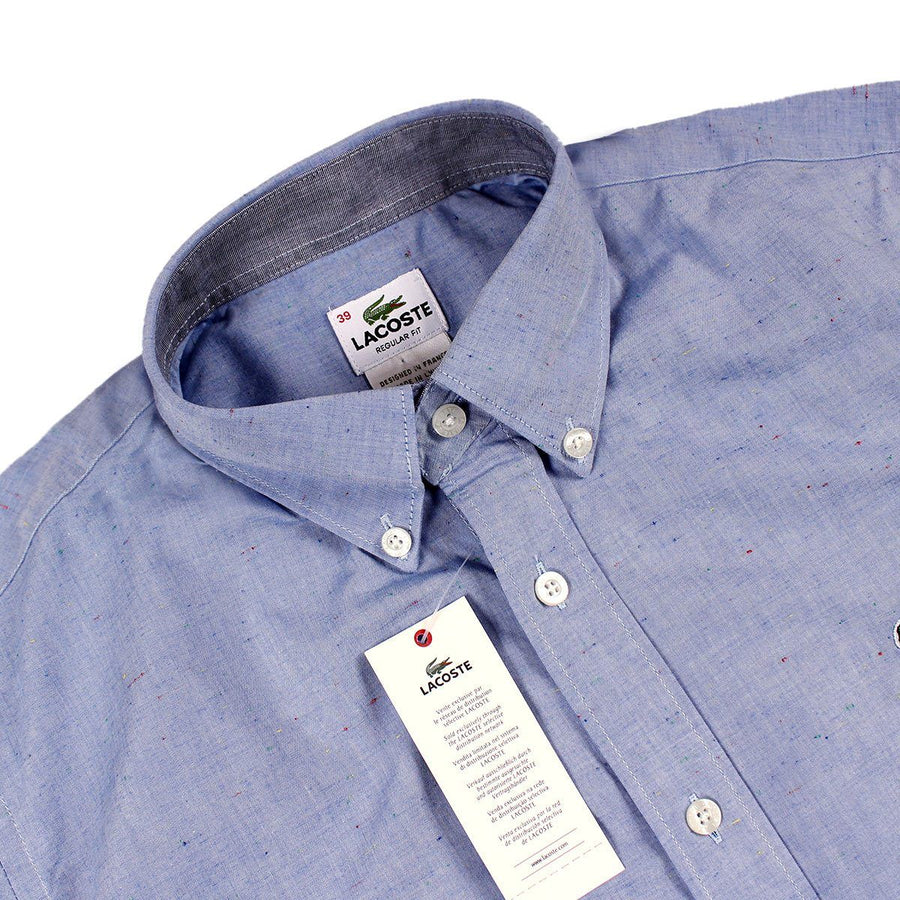 LACOSTE-blue cotton shirt with embroidered crocodile