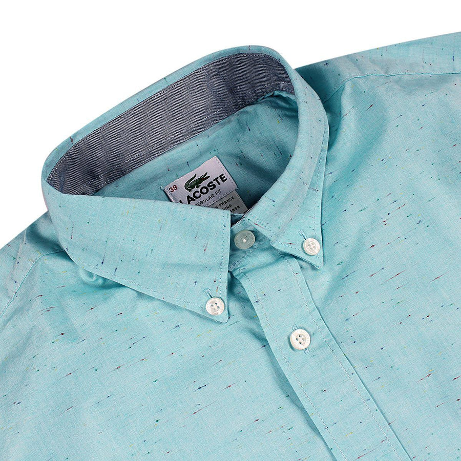 LACOSTE-light green cotton shirt with embroidered crocodile