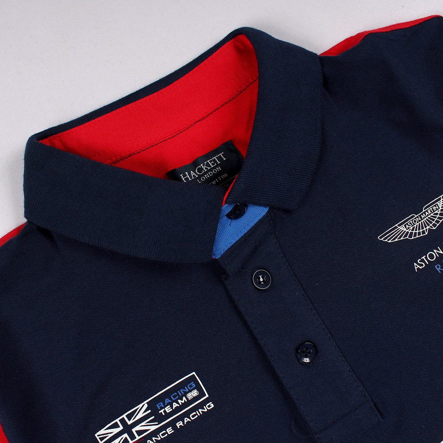 HACKETT LONDON-navy multicolored stretch polo shirt