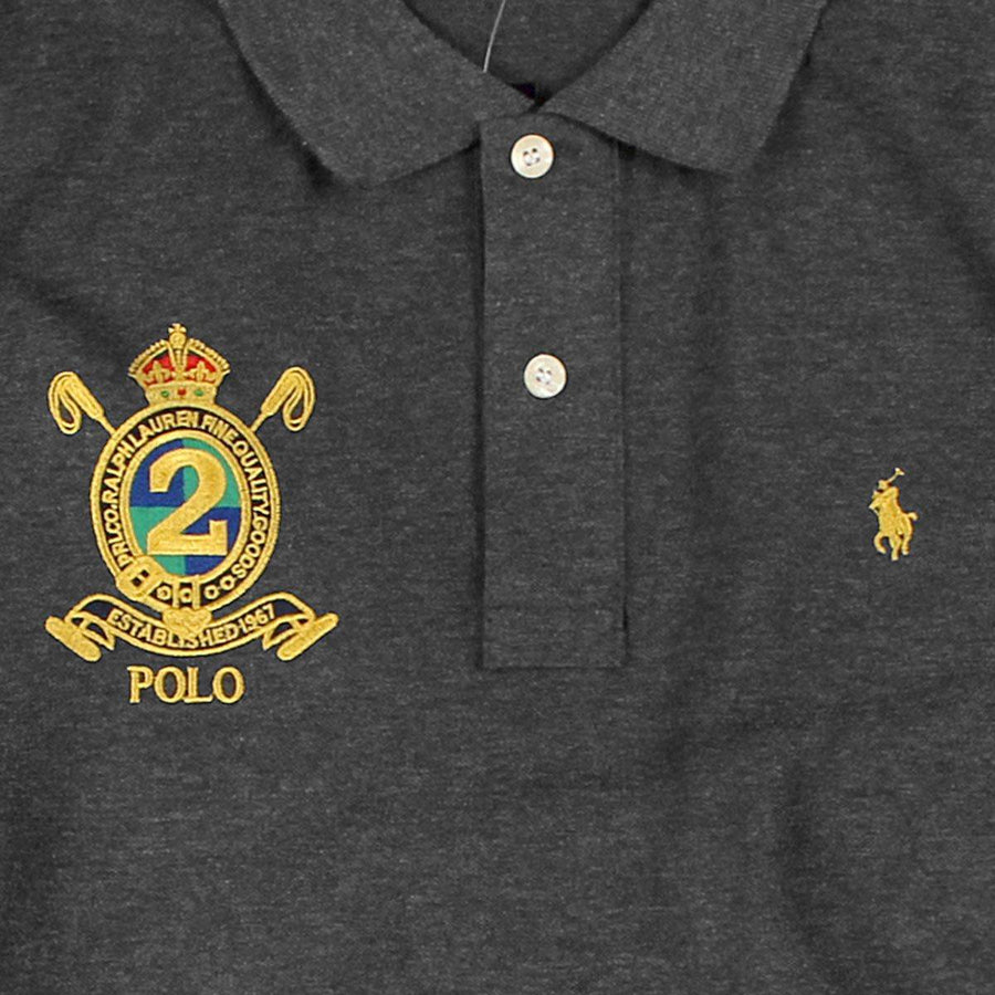 RALPH LAUREN-classic small pony charcoal 'slim fit' embroidered polo