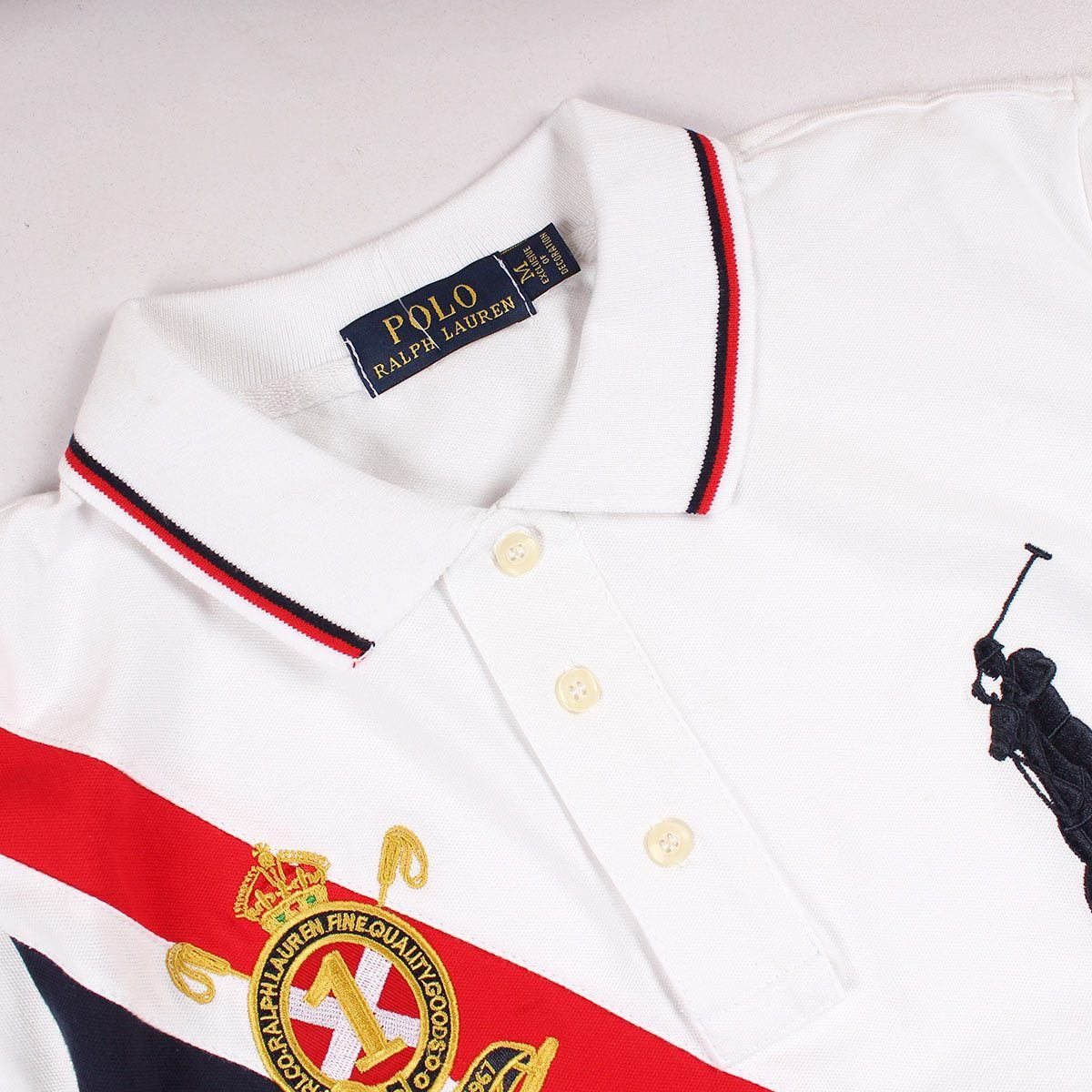 RALPH LAUREN-exclusive white prlco 'slim fit' embroidered polo