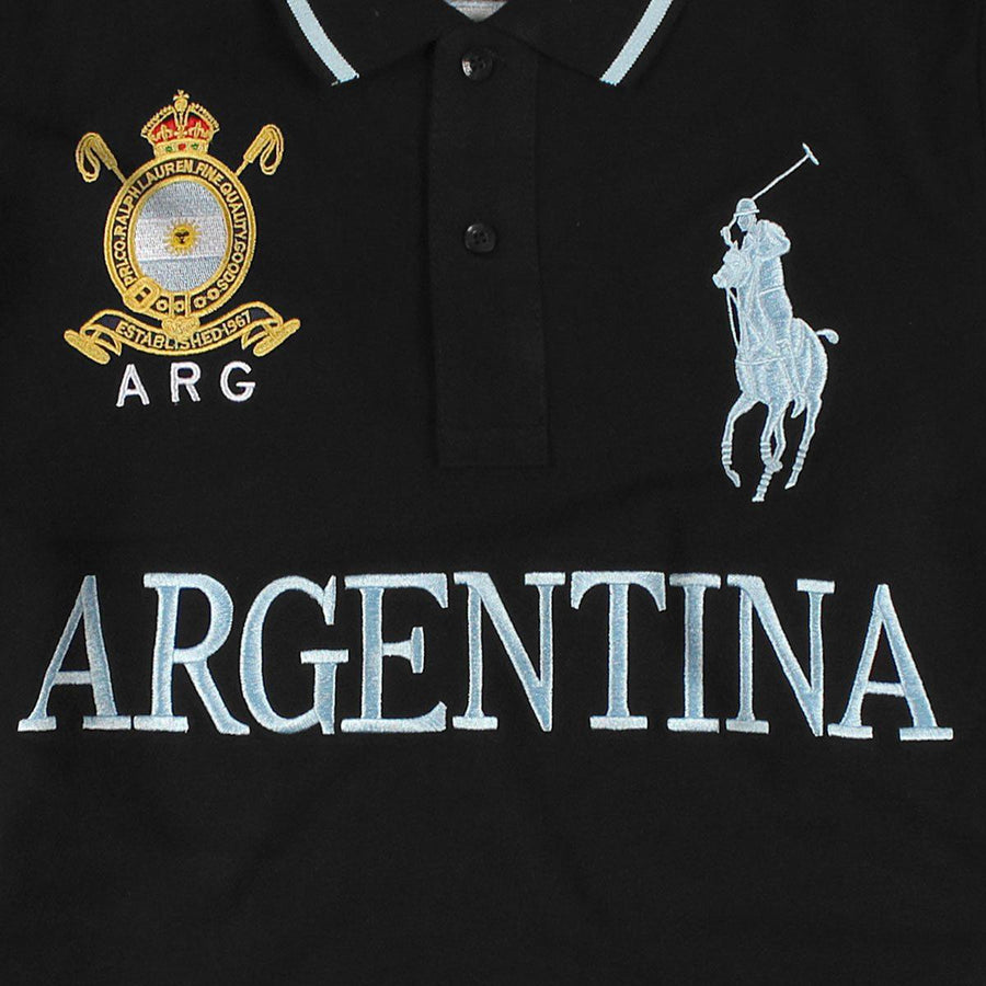 RALPH LAUREN-exclusive big pony arg 'slim fit' embroidered polo