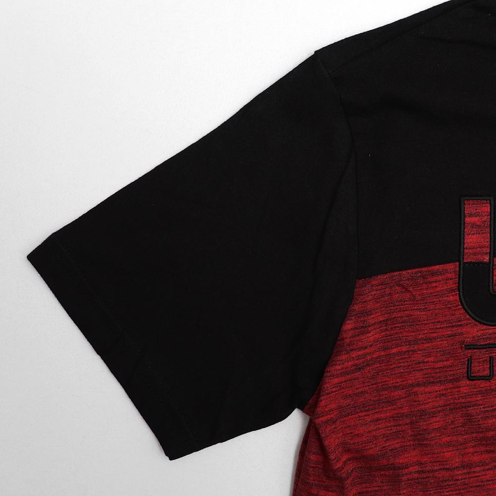 Red tag color block applique embroidery t-shirt (1650)