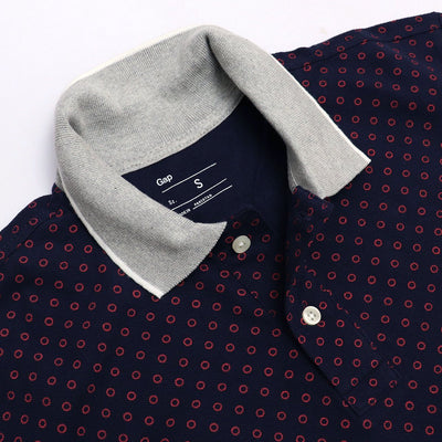 Navy luxury touch printed pique polo