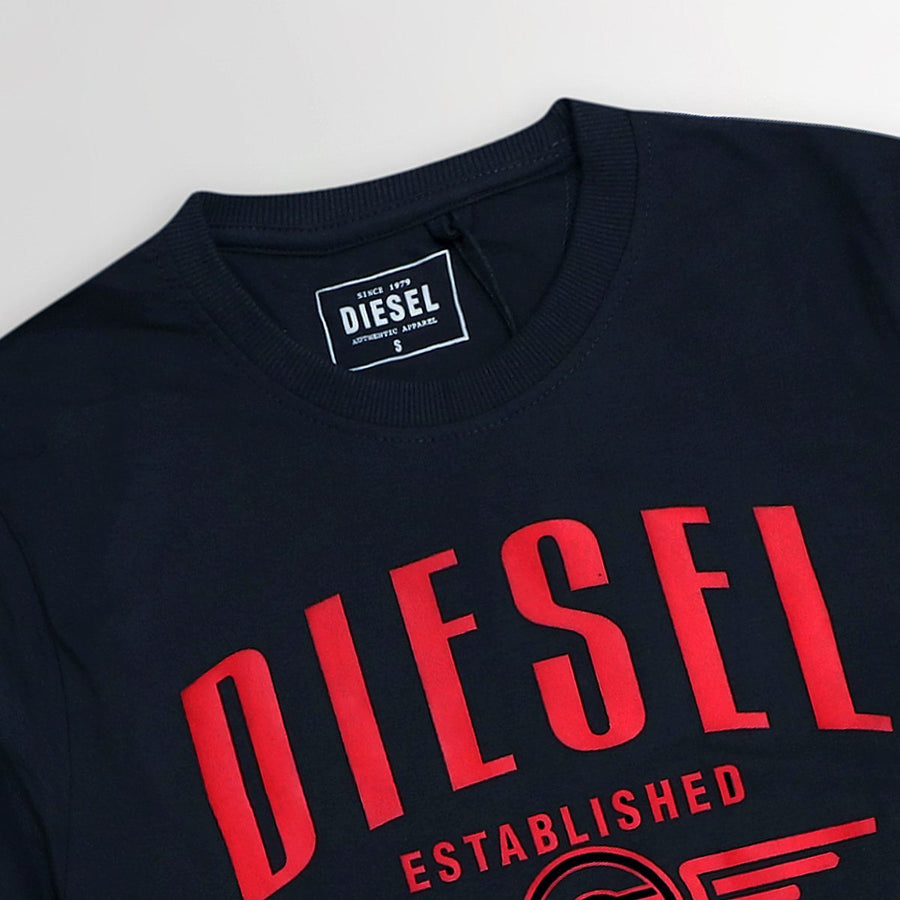 DIESEL-navy high density established logo graphic t-shirt (944)