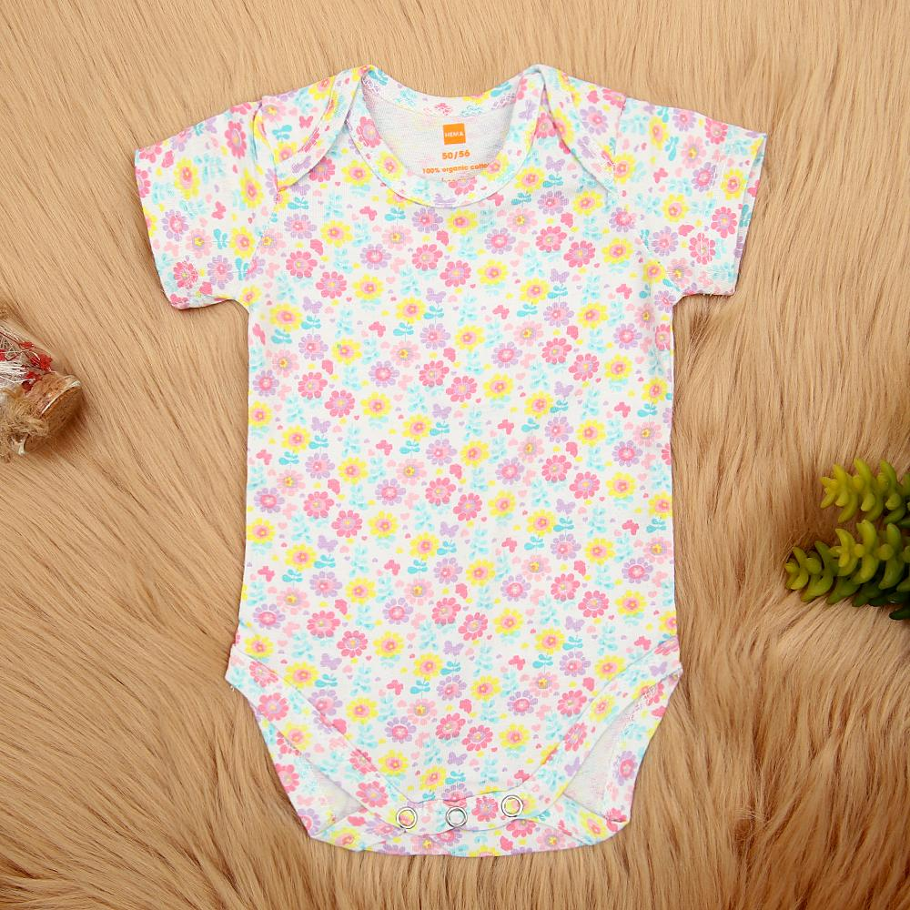 Imported Girls All-Over Floral Printed Soft Cotton Romper (21240)