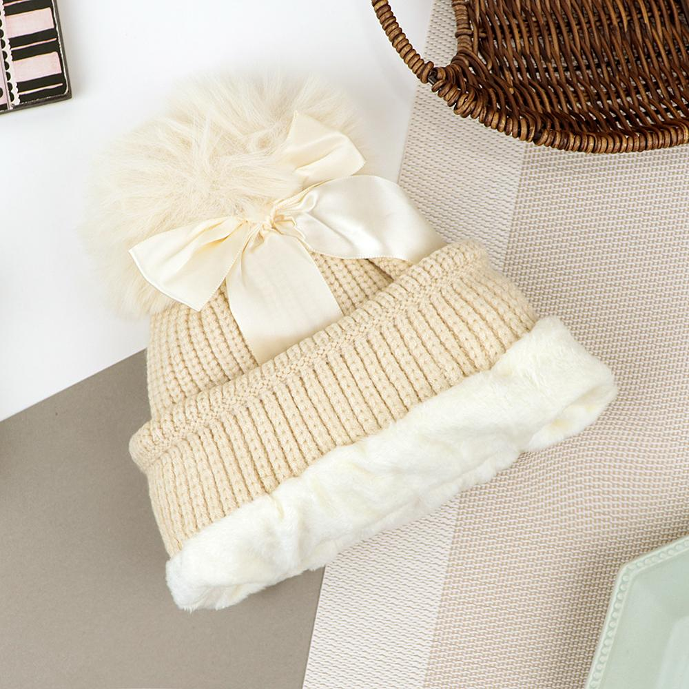 Lovely Winter Warm Soft Knitted Cute Fur Ball Wool Cap (40041)