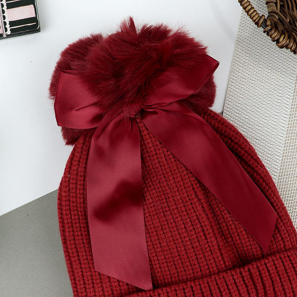 Lovely Winter Warm Soft Knitted Cute Fur Ball Wool Cap (40039)