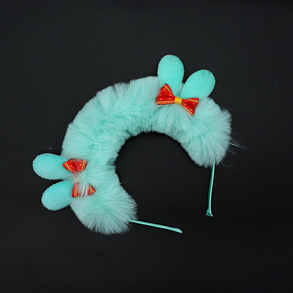 Girls double bow fur hair band