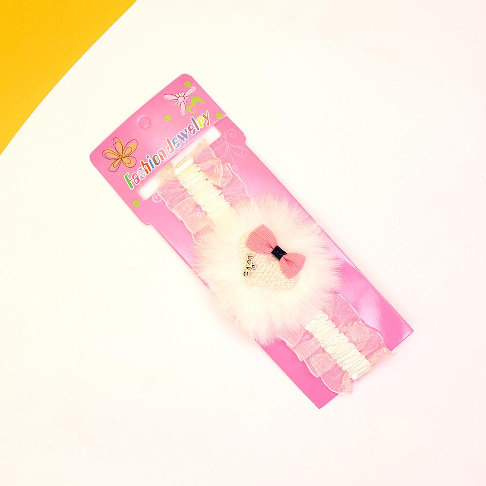 Girls soft elastic fur heart headband
