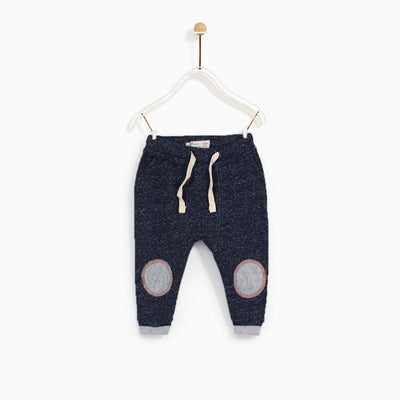 ZPY-kids navy textured trouser with knee patches (568)
