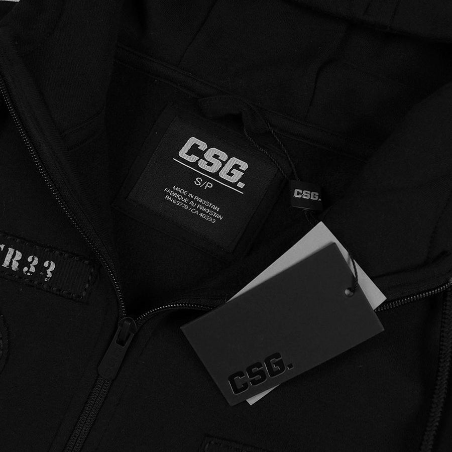 CSG-exclusive black patched fleece zipper hoodie