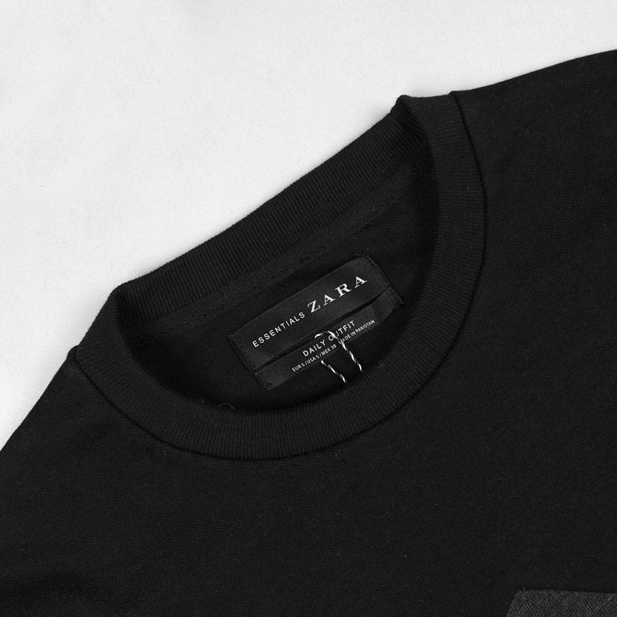 ZARA-black&charcoal 'muscle fit' sweatshirt with contrasting panels