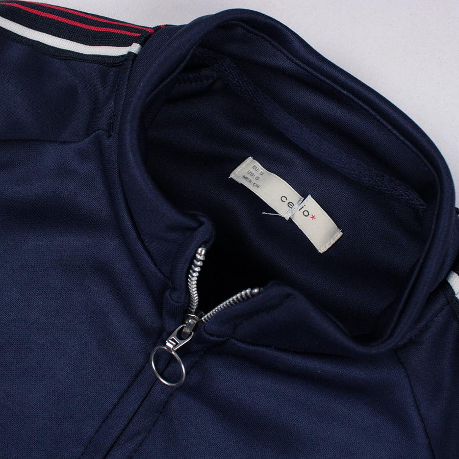 CELIO-navy polyester sport zipped jacket with stripes on arms