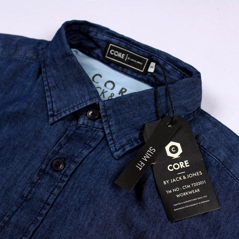 JACK & JONES-exclusive 'slim fit' dark blue light weight denim shirt