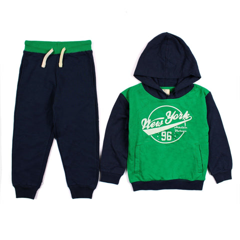 ZIPPY-Boys fleece green tracksuit with chest printing