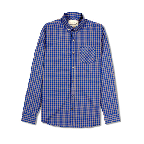 MARC FENDI-oxford blue check 'regular fit' button down shirt
