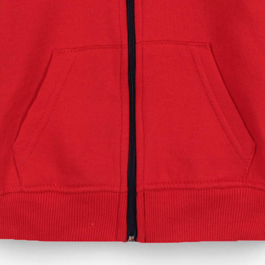 Kids red color block fleece zip up hoodie (638)