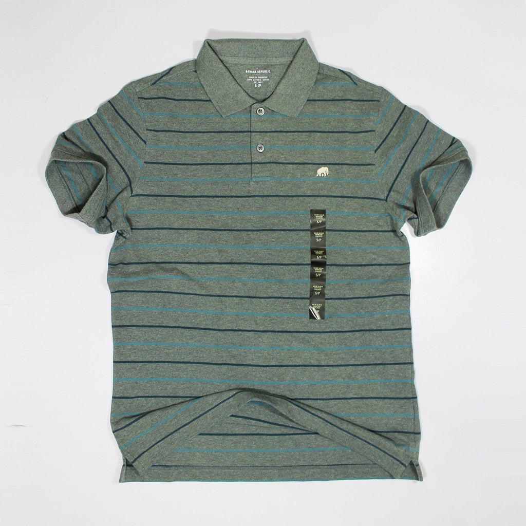 BANANA REPUBLIC-grey lining signature piqué polo