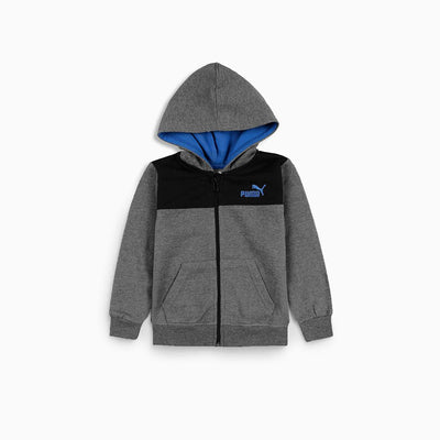 Kids charcoal color block fleece zip up hoodie (643)