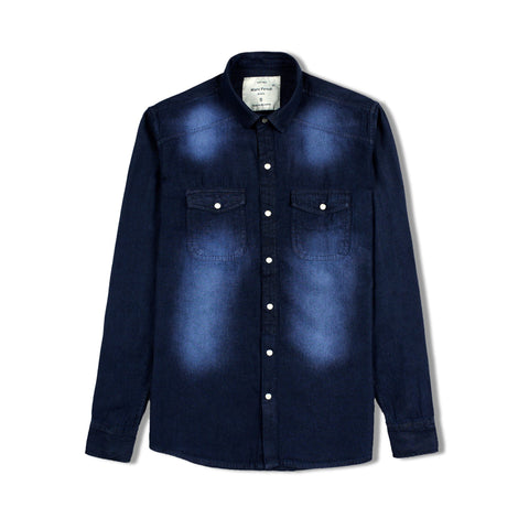 MARC FENDI-dark wash faded 'regular fit' denim shirt