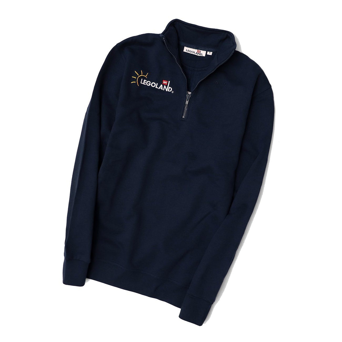 Men Navy Premium Quarter Zipper Fleece Embroidered Sweatshirt (30185)