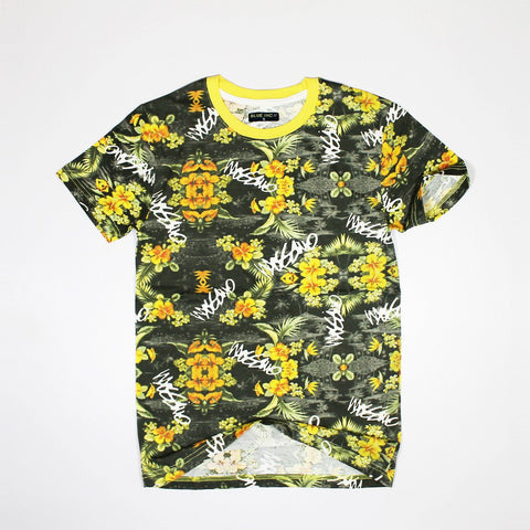BLUE INC-slim fit all over flower print t-shirt