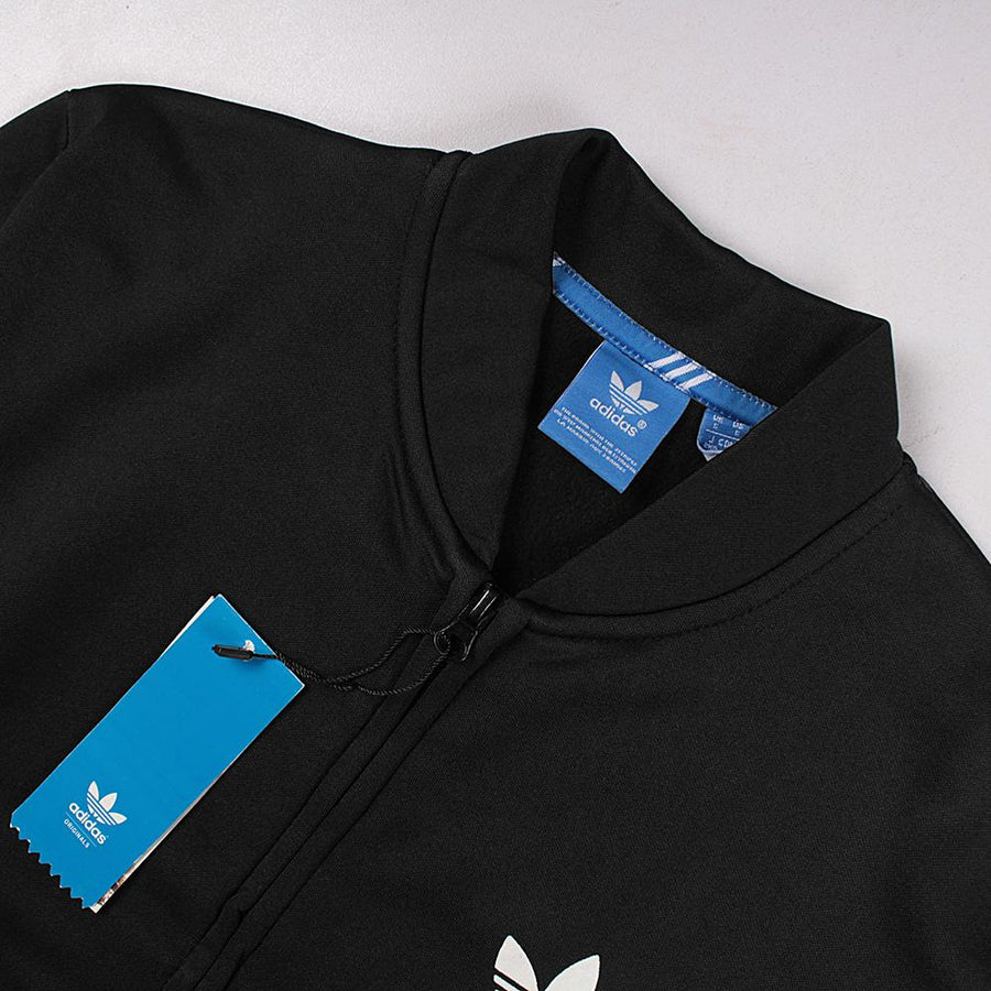 ADIDAS-black poly cotton 'slim fit' track jacket