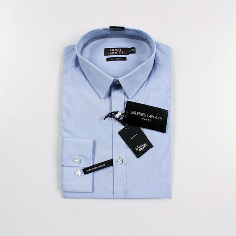 GALERIES LAFAYETTE PARIS-light blue with thin lining 'slim fit' stretch shirt