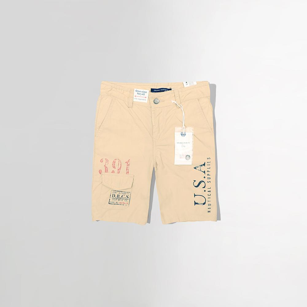 Exclusive boys beige printed Bermuda shorts in stretch cotton (1684)