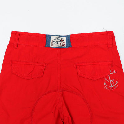 Exclusive boys red printed Bermuda shorts in stretch cotton (1676)